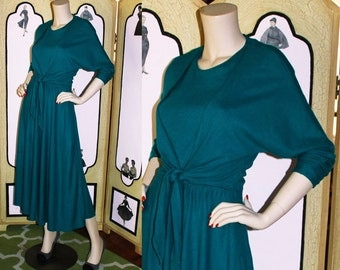 Vintage 80's Teal Knit Dress with Wrap and Tie Bodice. Medium.