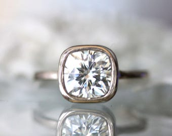 7.5mm Cushion Cut Forever One Moissanite 14K Gold Engagement Ring, Stacking Ring, Antique Square Moissanite, Recycled Gold - Made to Order