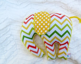 Chevron Stuffed Elephant Plush Red Yellow Green Ready to Ship