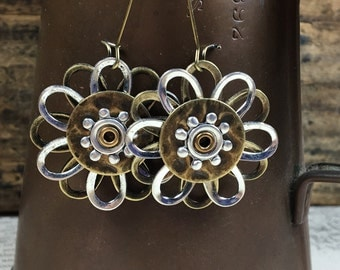 Mixed Metal Flower Stack Earring