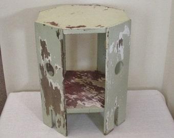 Vintage Mission Craftsman Plant Stand - Primitive Chippy Green Paint