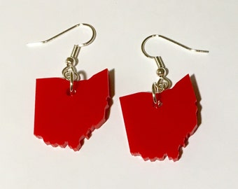 Ohio Earrings, US State Shapes in Red Lasercut Acrylic