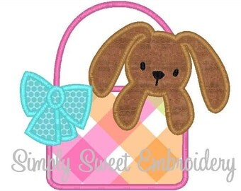 Bunny Basket Machine Embroidery Applique Design