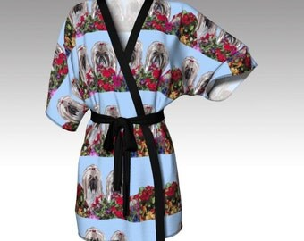 Two lhasas in the Garden Kimono Robe