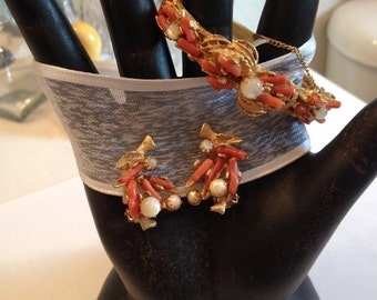SALE Branch Coral and Mother of Pearl Bangle and Clip Earrings