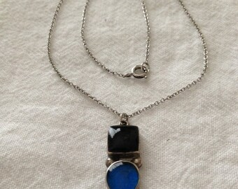 SALE Black and Blue Sterling Pendant Necklace Mexico 925