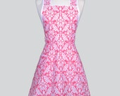 Womans Vintage Bib Apron , Elegant Raspberry Pink and White Damask with Over the Head Fitting Makes a Cute Full Coverage Cooking Apron