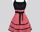 Flirty Chic Woman Apron . Cute Red and White Polka Dot Vintage Style Retro Kitchen Apron