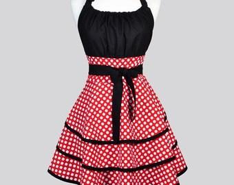 Flirty Chic Woman Apron . Cute Red and White Polka Dot Vintage Style Retro Kitchen Apron