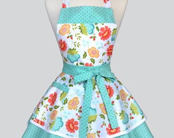 Womens Ruffled Retro Apron / Coral and Teal Spring Floral Womans Cute Flirty Vintage Style Pinup Kitchen Apron to Monogram or Personalize