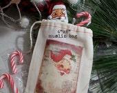 Vintage Santa Muslin Gift Bag / Christmas Party Favor Bag / Stocking Stuffer Gift Card Holder 3 Day Shi