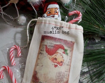 Vintage Santa Muslin Gift Bag / Christmas Party Favor Bag / Stocking Stuffer Gift Card Holder, READY TO SHIP