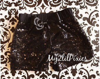 Baby Girls Black Sparkle Sequin SHORTS-girls birthday outfit-girls sequin shorts-Infant toddler shorts- baby girl shorts- Ready to Ship