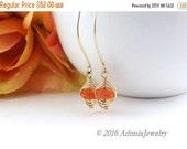 Valentine Day Sale Orange Gemstone Earrings - Long Gold Earrings - Chalcedony Herringbone Earrings - AdoniaJewelry