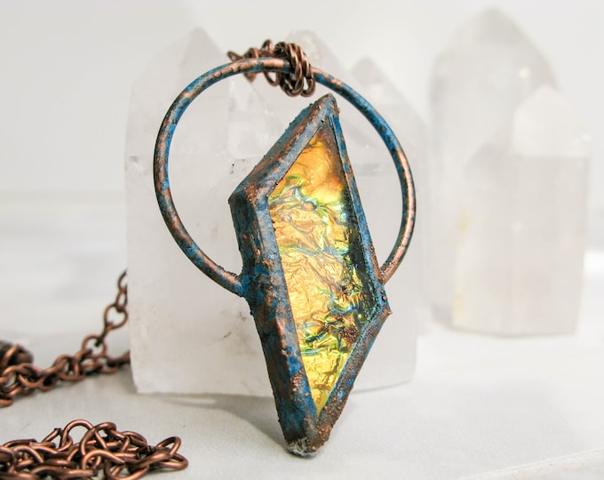 Electroformed Copper Necklace Statement necklace Yellow Orange Fused Glass Pendant Modern Jewelry Large Glass Pendant boho necklace OOAK