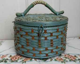 Vintage Small Sewing Basket, Blue and Tan, Seamstress, Tailor