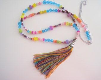 multi-colored beaded tassel necklace - handmade tassel, extra long necklace