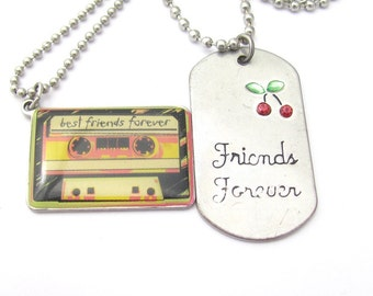 Best Friends Necklaces, Vintage BFF Jewelry, Ball Chains, BFF Vintage Pendant Charms Claire's Charm Necklaces, Best Friends Forever