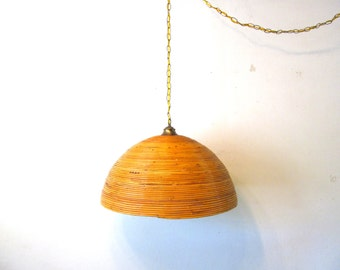 Vintage Bamboo Swag Lamp, Chain Light, Tiki, Boho