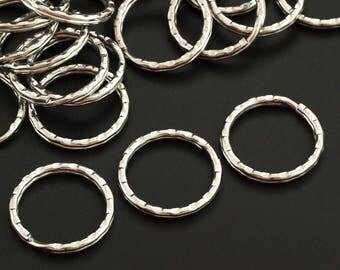 SALE 28mm Nickel Plated Split Rings - Hammered Round