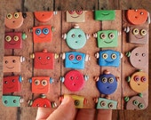 Happy Robot Faces in Rows Art Postcard