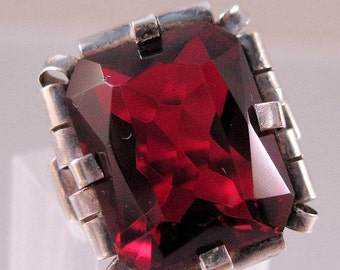 XMAS SALE 1930s Art Deco Red Garnet Glass Sterling Ring Emerald Cut Arts & Crafts Size 3 Vintage Jewelry Jewellery