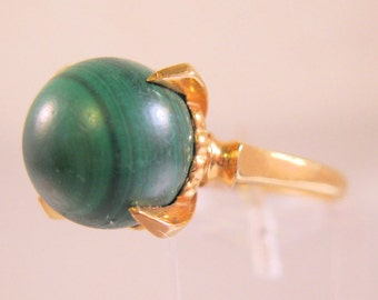 1950's Malachite 18k Solitaire Ring Size 9.5 Vintage Jewelry Jewellery