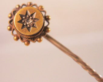 Victorian English 15ct Rose Cut Diamond Stick Pin Hat Pin Cravat Antique Jewelry Jewellery