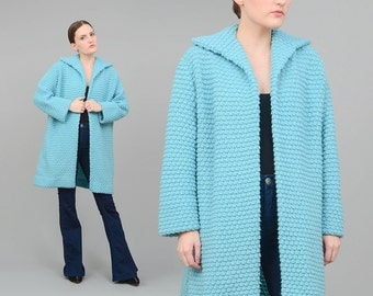 Vintage 60s Blue Cardigan Nubby Hand Knit Sweater Long Duster Jacket 1960s Sky Blue Jacket Sweater Coat Small Medium S M