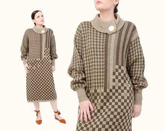 Vintage 80s Sweater Dress - Turtleneck Dress Alpaca Wool Knit Dress - Checkered Houndstooth Sweater 1980s Midi Dress Tan Green Medium M