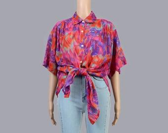 Vintage 90s Watercolor Floral Blouse | Collared Shirt | Oversize Button Down Shirt | Semi Sheer Blouse | Orange Purple Pink | Medium Large