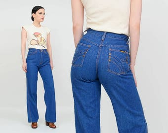 Vintage 70s Blue Jeans | High Waist Flared Boot Cut Jeans | Hi Rise Skinny Jeans | Boho Hippie Denim | Small 26 waist 32 inseam