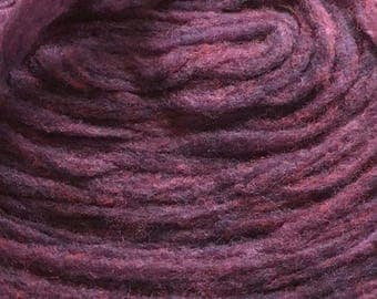 4 ounces Bulky 2 Strand Pencil Roving Marionberry Pie 100% Wool +/- 200 yd Heathered Purple Feltable Imperial Stock Ranch Mill Ends No Label
