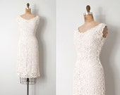 vintage 1950s dress | crocheted raffia 50s dress | Silver Snowflakes