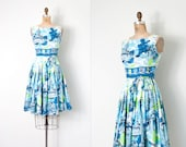 vintage 1950s dress / scenic novelty print 50s dress / extra small xs