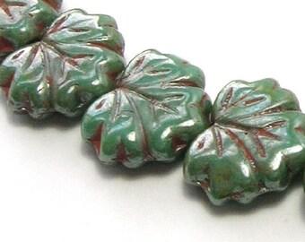Czech Maple Leaf Glass Beads - Persian Green 10 Beads  (13mm) - Czech Beads