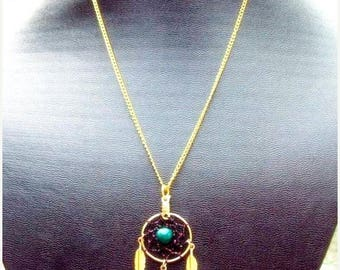 1daySALE SPIRIT ll  Pink,Green and Gold Dreamcatcher necklace w/ three feathers - larger center stone than spirit l