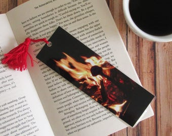 Fire Bookmark with Handmade Tassel -  Photo Bookmark - Page Marker - Photography