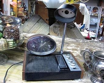 Longines Symphonette Radio With Clock and Light, Mid Century Modern Radio, Mod Clock Radio, Desk Set Radio Clock and Light,Vintage Radio Set
