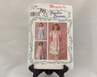 Vintage  Simplicity Timeless Dreams Girls  Dress and Pinafore Pattern  Sizes 3 thru 5  Style  0689