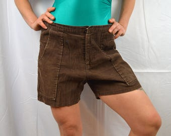 Vintage 1970s Brown Corduroy OP Ocean Pacific Sunwear Surf Board Shorts