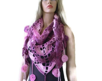 Pink and plum-Bohemian scarf with fringes, Shades of pink  Crochet lace scarf -Fine Mohair and Wool
