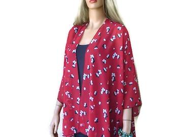 Red floral kimono | Etsy