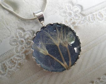 3 Wishes-Stardust-Ride The Wind-Victorian Crown Neckace-Pendant-3 Large Dandelion Seeds-Free Spirited-Glowing Blue Background-Nature's Art