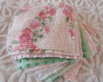 "Vintage Chenille Fabric Quilt Squares - 12 - 6"" Pink, green, white, rosebuds, all different - 500-81"