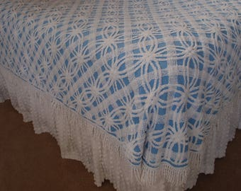"Vintage Chenille Bedspread, Morgan Jones, Blue with white double wedding ring, 74""wide by 100"" long - No. 2 - #800-155"