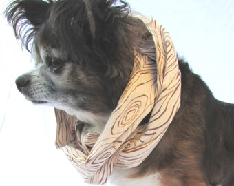 Pet Dog Infinity Scarf Faux Wood