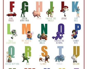 Printable Alphabet Toy story Abc poster Decor wall Art print Huge poster digital download abc chart