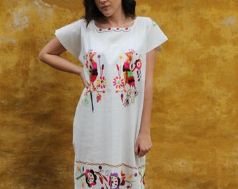 White and Multi colored embroidery Otomi Designs