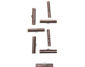 50pcs.  30mm ( 1 3/16 inch ) Antique Copper Ribbon Clamp End Crimps - Artisan Series
